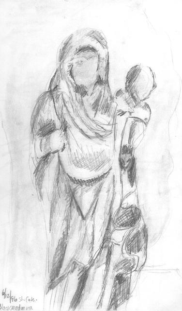 Black Madonna Sketch Brussels Belgium