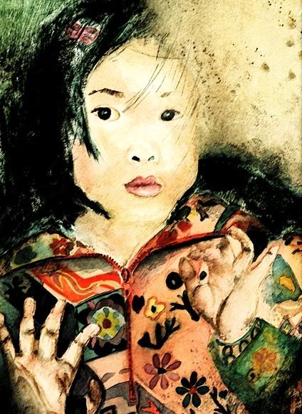 Watercolor Painting: Girl in Window